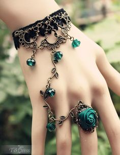 Bohemian Retro Blue Rose Vines Ring Bracelet