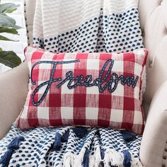 Add a casual, patriotic touch to any seat with this Buffalo Check Freedom Accent Pillow. Its stitched blue and white letters pop on its red buffalo check fabric. Fourth Of July Decor, 4th Of July Celebration, 4th Of July Decorations, July 4th, Buffalo Check Fabric, Buffalo Check Pillows, Patriotic Crafts, July Crafts, Blue Words
