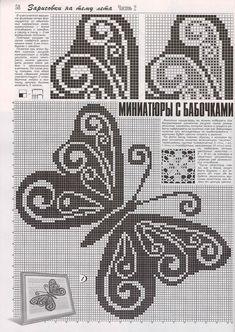 "Photo from album ""Дуплет on Yandex. Filet Crochet Charts, Crochet Diagram, Cross Stitch Charts, Cross Stitch Patterns, Butterfly Cross Stitch, Crochet Butterfly, Cross Stitch Flowers, Pixel Crochet, Russian Crochet"