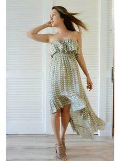 Angels by the Sea Ruffle Tail Cut Dress 2-141 [Angel's Wing/Gray] - Dress - Resort Wear   AlohaOutlet SelectShop
