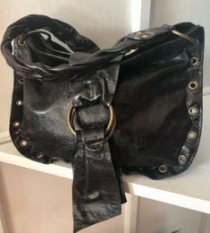 8534b92bdf Sabrina New York Black Distressed Leather Hobo Bag Purse Small Clean