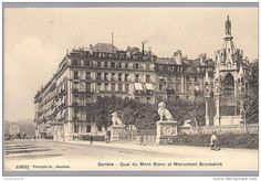 The Hotel Beau Rivage, Geneva, where Empress Elisabeth of Austria died on Sept 10, 1898. On her way to the ferry, she stopped to look at the Brunswick monument shown on the right. The room in the hotel where she died is kept as a mini-museum.