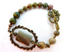 Grey Olive green bracelet Autumn mood Picasso Jasper  Turquoise Yellow green   Casual elegance Antiqued bronze details - pinned by pin4etsy.com