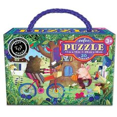 eeBoo Bear on Bicycle Puzzle, 20 pieces For ages 3 and up Puzzle size x Winner of the Oppenheim Platinum Award Melissa Sweet, Puzzle Pieces, Say Hello, Recycling, Lunch Box, Bicycle, Bear, Shapes, Toys