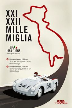 Porsche 550 Spyder Mille Miglia Vintage Racing poster download only $8.50 - http://posters.type550.com