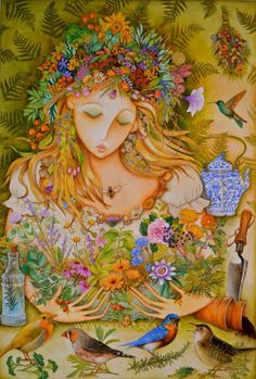Harvest time, loving the abundance and grateful for all the gifts of the Universe both within and all around. Life abounds in beauty and let us be grateful and growing in peace! Art is the Herbal Goddess by Holly Sierra.