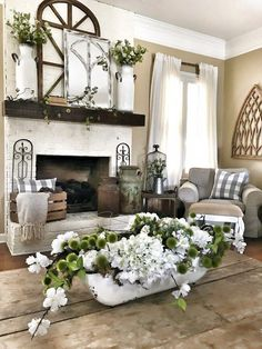 48 best and popular farmhouse living ro. - 48 Best And Popular Farmhouse Living Room Decor Ideas - French Country Living Room, Country Farmhouse Decor, French Country Decorating, Farmhouse Style, Country Style, Cottage Style, Farmhouse Ideas, Farmhouse Design, French Country Fireplace