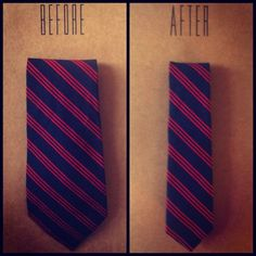 """SKINNI TIE REDO: How to turn fat ties into new, chic thin ties (the very """"in"""" throwback to the 50s and 60s). Project for thrifted ties."""