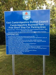 IRS East Cambridgeshire District Council parking restriction signs, manufactured with digital prints on the face.