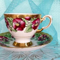 ON SALE 30% Antique 1960's Tea Cup Tuscan China Floral