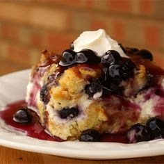 Overnight Blueberry French Toast Recipe - This is a very unique breakfast dish. Good for any holiday breakfast or brunch, it's filled with the fresh taste of blueberries, and covered with a rich blueberry sauce to make it a one of a kind. Breakfast And Brunch, Breakfast Dishes, Breakfast Recipes, Blueberry Breakfast, Blueberry Pancakes, Morning Breakfast, Make Ahead Breakfast Casserole, Mexican Breakfast, Brunch Dishes