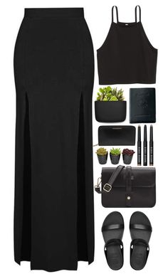 """""""Take what you need, darling."""" by annaclaraalvez ❤ liked on Polyvore featuring Topshop, FitFlop, Royce Leather, Normann Copenhagen, Burberry and Bobbi Brown Cosmetics"""