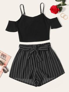 Shein Plus Cold Shoulder Top & Belted Pinstripe Shorts Set Teenage Girl Outfits, Girls Fashion Clothes, Cute Girl Outfits, Teen Fashion Outfits, Cute Summer Outfits, Cute Casual Outfits, Cute Fashion, Outfits For Teens, Pretty Outfits