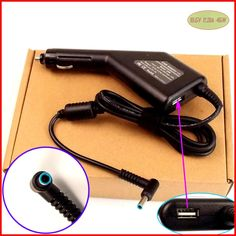 Laptop DC Power Car Adapter Charger 19.5V 2.31A 45W + USB Port for HP Chromebook 14-Q031EF