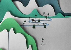 In his masterpieces, artist Eiko Ojala uses a collage-style technique where he uses slices of paper to create beautiful cut-out landscape artwork. His scenery uses only a few colors, such as blue and green tones, to pick out skies and mountain ranges, adding depth and dimension to his essentially 2D constructions.  Paper Art.  via www.trendhunter.com