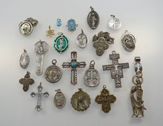 Vintage Religious Lot 22 Pieces Medals Crosses Crucifixes Pins Some Sterling