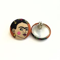 Button earrings Frida Kahlo Mexican artist fabric earrings