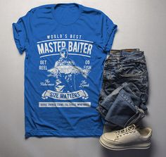 7649ee28c34 Men s Funny Fishing T-Shirt World s Best Master Baiter Vintage Shirt  Fisherman Tee