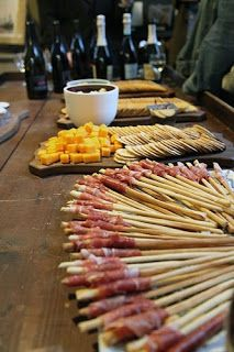 Wine pairing party ideas.  Love the prosciutto wrapped bread sticks!