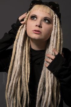 Beautiful, blended and intense colors. These dreads are double ended extensions and can be installed with braid methods, or using latch hook tools. Steampunk Hairstyles, 100 Human Hair Extensions, Steampunk Fashion, Stylists, Dreadlocks, Hair Ideas, Vintage, Crochet, Crochet Hooks