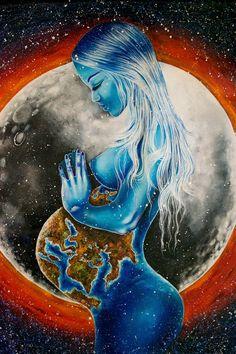 A piece by Lisete Alcalde Birth Art, Pregnancy Art, Pregnancy Drawing, Mother Art, Mother Nature, Black Love Art, Goddess Art, Wow Art, Visionary Art