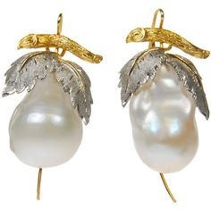 Baroque Pearl Earrings With White And Yellow Gold Leaf Design Tops ($3,700) ❤ liked on Polyvore featuring jewelry, earrings, yellow gold jewelry, leaf jewelry, baroque pearl earrings, gold leaf jewelry and leaves earrings