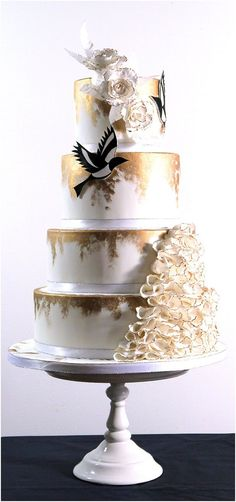 Two for Joy, gold and white wedding cake | by Cakes by Beth www.cakesbybeth.co.uk