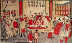 i Hongzhang Signing the Peace Treaty with the Great Powers.  On 7 September 1901, the Qing Empire signed the Boxer Protocol with the Allien of Eight Nations. The Great Powers had considered Empress Dowager Cixi to be the No. 1 war criminal. However, through Li Hongzhang's efforts, Cixi was waived in the Protocol.