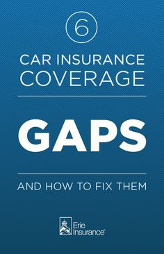 Even the most careful people sometimes have car insurance coverage gaps that could put themselves, their families and their belongings in danger. And it's not just about car insurance. Coverage gaps in your home and life insurance can leave you vulnerable, too. Erie Insurance lists six of the most common coverage gaps...and why you might want to consider closing them.