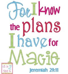 Jeremiah 29:11 For I know the Plans I have For You Embroidery Design  itch2stitch.com