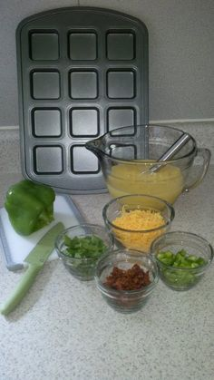 """All you need to make """"make ahead"""" mini omelette's. LOVE The Pampered Chef Brownie Pan!! http://www.pamperedchef.biz/monaporras"""