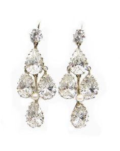 Elizabeth Chandelier Earrings with White Topaz