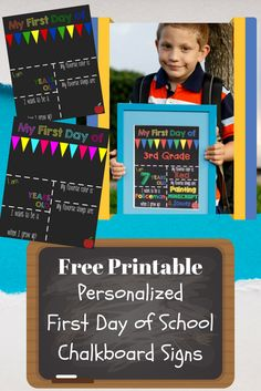 Personalize and print this free First Day of School Printable Chalkboard sign for the perfect back to school photo shoot!
