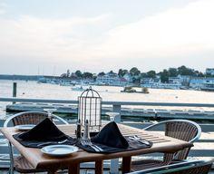 Harborside dining at Rocktide Inn, Boothbay Harbor, Maine