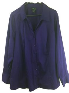 Lane Bryant 28 Top Purple Fitted Button Front Stretch Cotton #Career Blouse 3X #LaneBryant #ButtonDownShirt