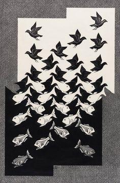 M. C. Escher Sky and Water II December 1938  Woodcut