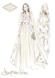 Angelina Jolie Marries Brad Pitt In Atelier Versace - sketch of the gorgeous Atelier Versace creation designed by Donatella Versace. The one-of-a-kind custom-made Atelier Versace white silk satin gown gathered at the bust with an elongated train was detailed with the embroidered drawings of her children, which were also reproduced on the silk veil.