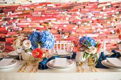 Kati Hewitt Photgraphy Red, White, Blue, Americana, Texas Wedding, tara salad plate, gold flatware, elegant texas theme