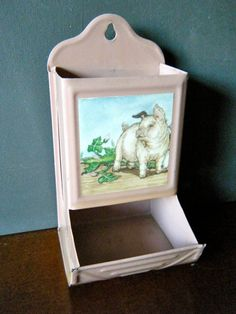 Vintage Tin Match Box Holder, Kitchen Item, Light Mauve Pink with Farm Pig and Watermelon Vines, for the Vintage Kitchen or Travel Trailer on Etsy, $21.00
