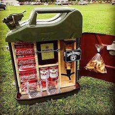 Ultimate man cave need. Traveling bar. Best use of a jerry can.