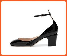 FSJ Women Retro Ankle Strap Mid Heels Dress Pumps Almond Toe Patent Leather Shoes Size 7 Black - Pumps for women (*Amazon Partner-Link)