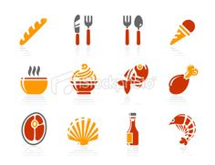Food and Restaurant icons   Sunshine Hotel series Royalty Free Stock Vector Art Illustration