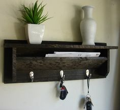 Rustic Wall Mount 3 Hanger Hook Coat Rack with Shelf by KeoDecor, $45.00