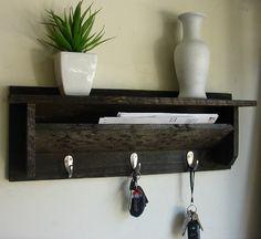 Rustic Wall Mount 3 Hanger Hook Coat Rack with Shelf by KeoDecor, $45.00