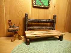 Dollhouse Miniature Bench Log Cabin Rustic by Shenandoahcabinfever, $14.95