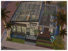 Its a cozy place to enjoy the breakfast or enjoying the outdoor bar. Found in TSR Category 'Sims 4 Community Lots' Sims 4 House Plans, Sims 4 House Building, Sims House, Sims 4 Restaurant, Restaurant Floor Plan, Cafe Shop Design, Cafe Interior Design, Cafe Floor Plan, The Sims 4 Lots