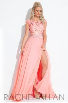 High neckline with floral design and a chiffon skirt