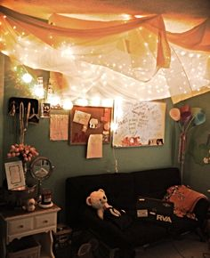 String lights and sheer fabric hung from the ceiling! :)