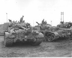 Pershing and Sherman tanks of the 73rd Heavy Tank Battalion at the Pusan Docks, Korea. The Korean War was fought with mainly WW2 weapons, the main exception being jet fighters.