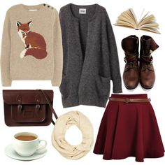 A whole collection of wonderful things--red skirt, coffee, fox sweater, book, scarf. // Agreed.